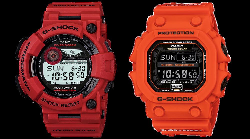 Frogman RD y GX56 Orange mostrando hora digital promocional