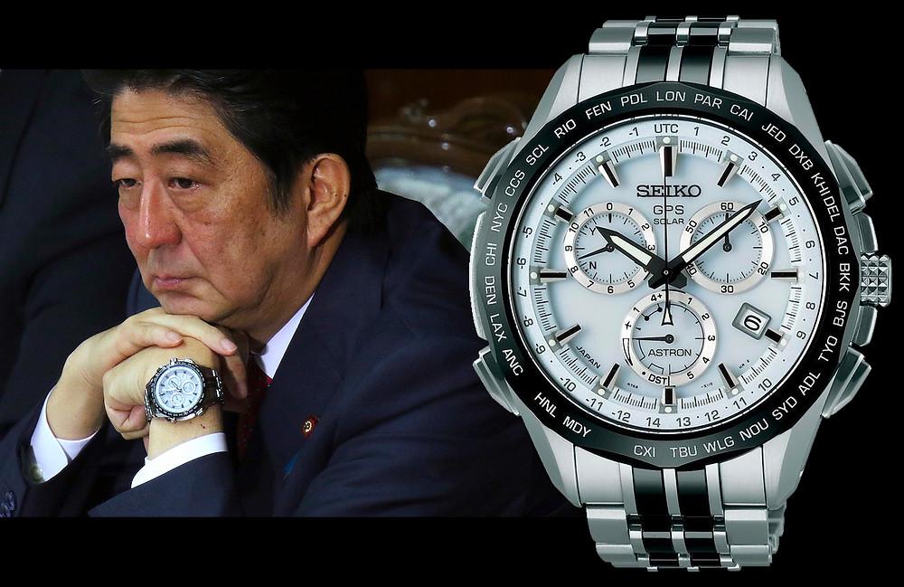 Primer Ministro Shinzo Abe con reloj seiko Astron GPS solar