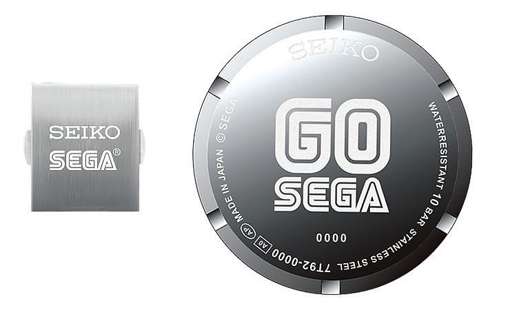 Detalle logotipo SEGA marcado laser en tapa de fondo reloj Seiko edicion limitada