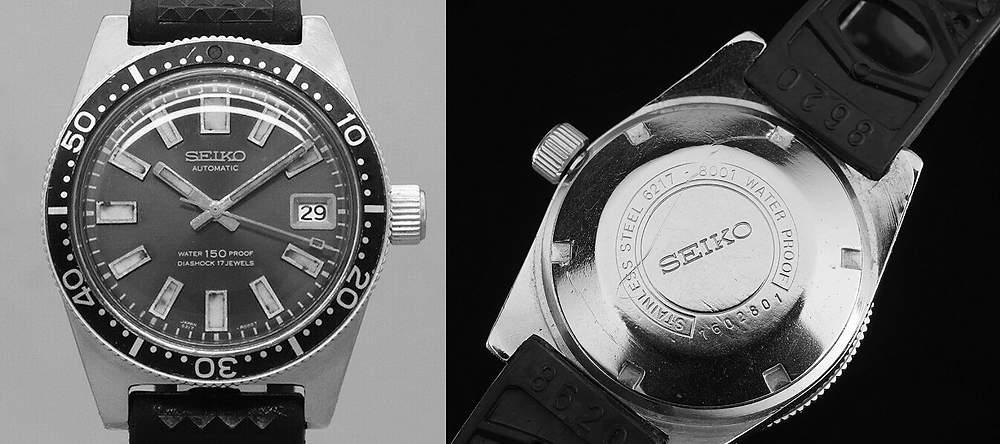 Inscripcion waterproof Seiko diver 1965 modelo  6217-8001