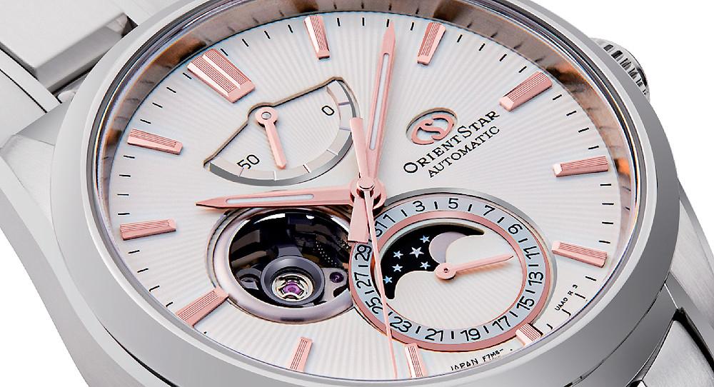 detalle esfera reloj automatico con fases lunares orient star 147-re-ay0003s00b