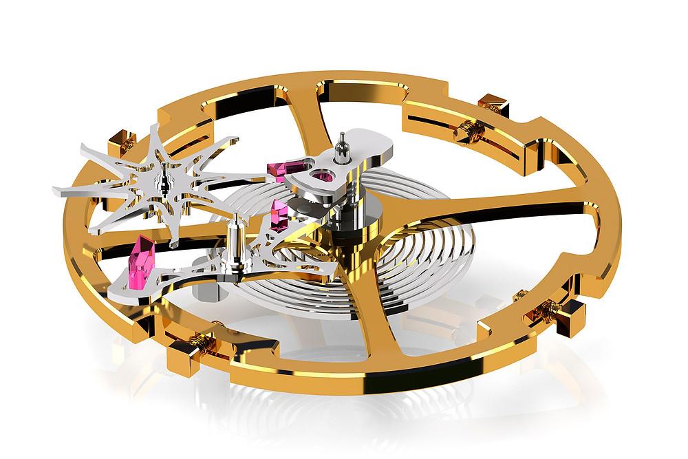 detalle escape doble impulso movimiento automático Calibre Grand Seiko 9SA5
