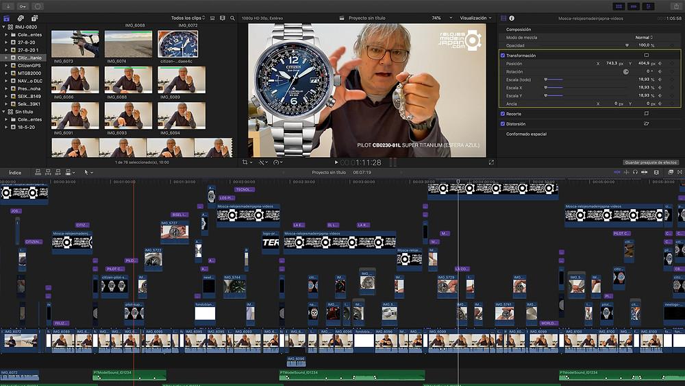 post produccion video review reloj Citizen Pilot de Super Titanium radiocontrolado