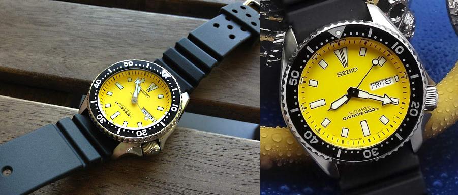 raro Seiko SKX amarillo modelo skxa35