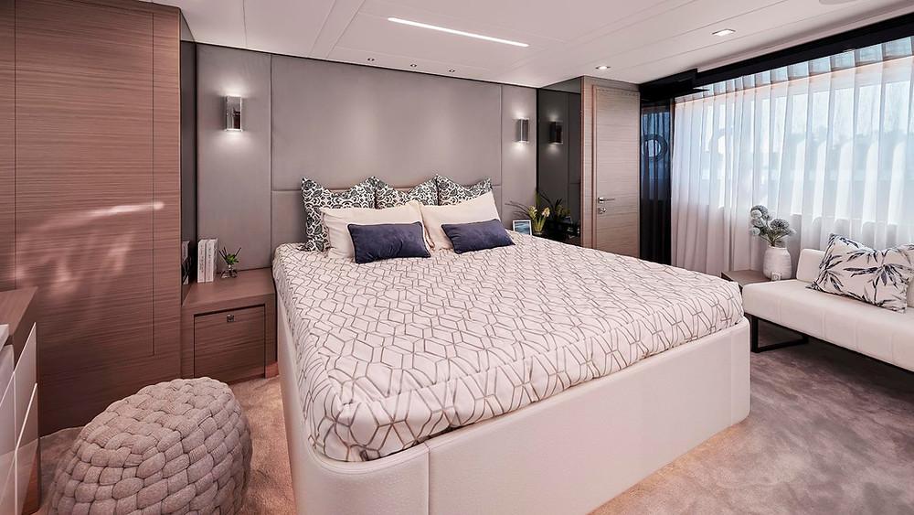 detalle cabina vip yate 23m horizon fd75 nuevo en venta