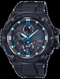 Detalle esfera con azul anodizado reloj G-Steel de Casio G-Shock modelo GST-B100BNR-1A