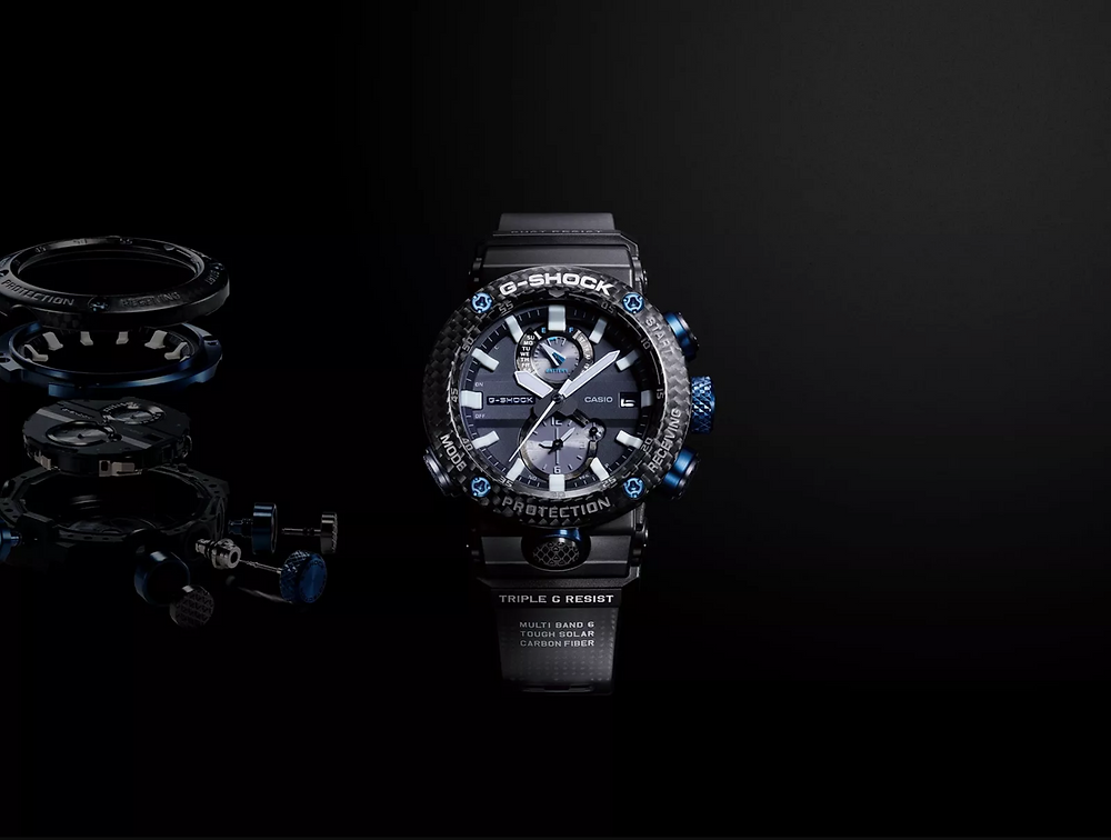 Reloj GWR-B1000 Gravitymaster de fibra de carbono, con bluetooth, cristal de zafiro y botones de titanio