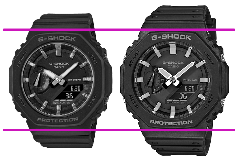 comparativa dimensiones ga-2100  versus gma-s2100 relojes casioak