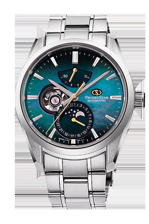 147-RE-AY0006A00B reloj con fases lunares, automatico y alta gama Orient Star