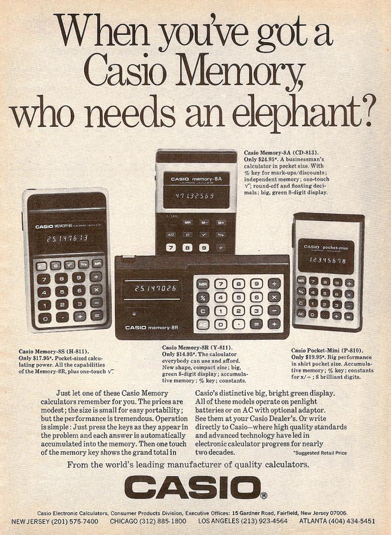 Calculadoras Casio en 1976