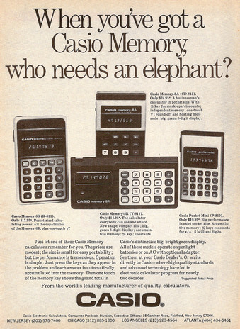 Calculadoras Casio en 1976