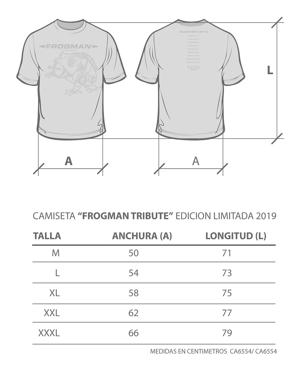 Guía de tallas Camiseta G-Shock Frogman Tribute