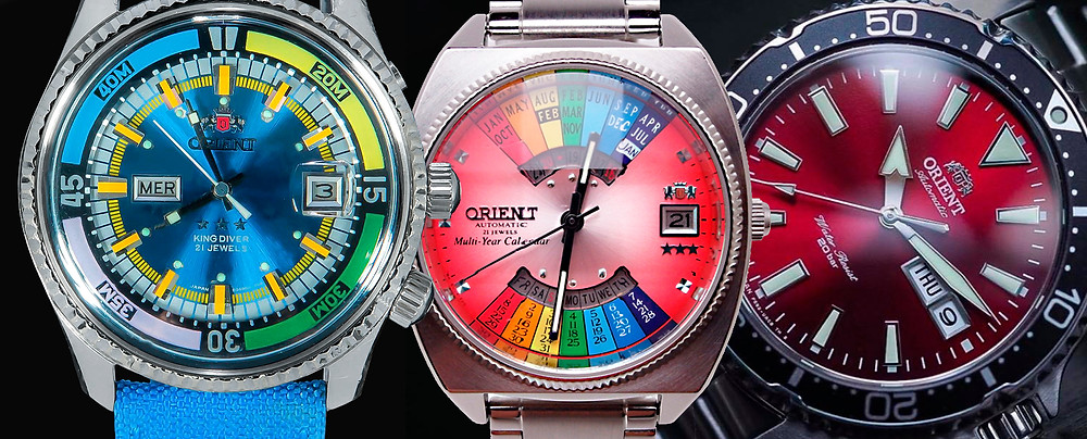 orient relojescon esferas coloristas metalizadas brillantes rojos verde azules etc