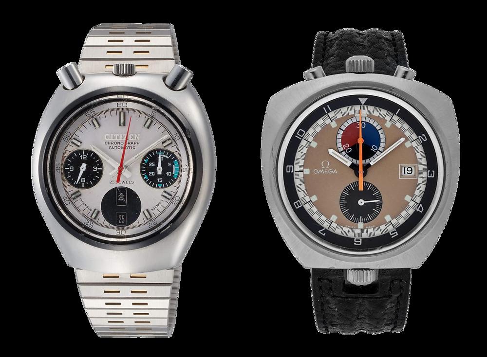 Relojes especiales vintage Bullhead de 1970 Omega y Citizen