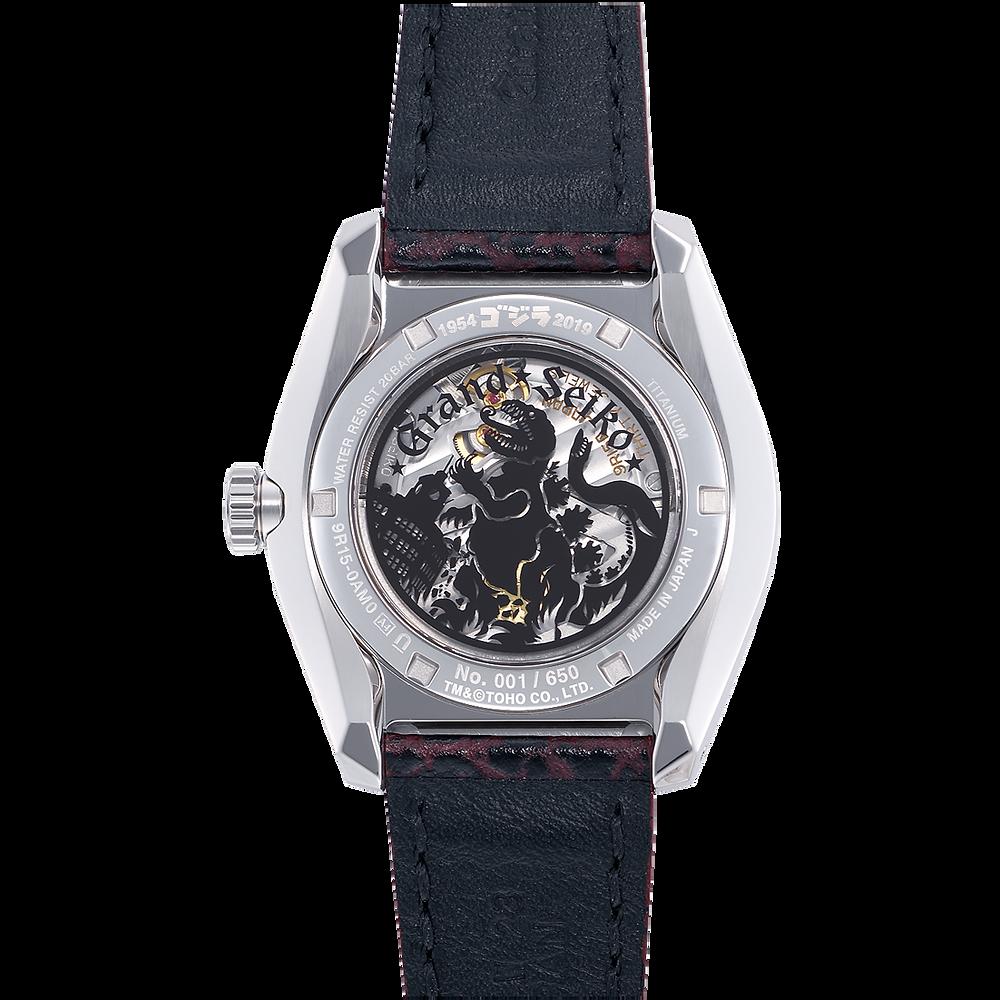 DEtalle godzilla en fondo caja impreso en cristal de zafiro reloj Grand Seiko