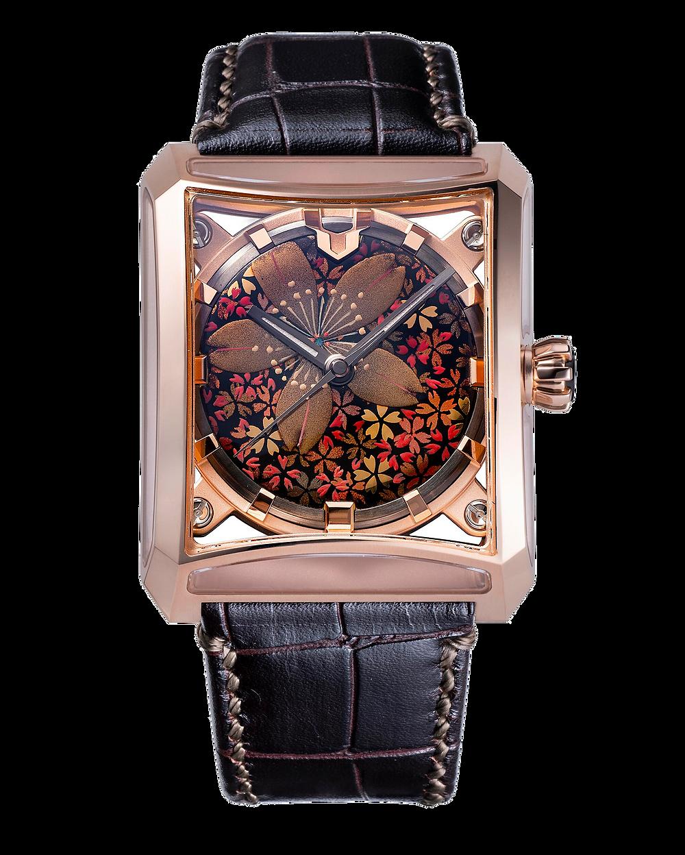 Reloj de lujo marca Minase serie Makie Yama Sakura VM15-CBKMA4-KPJ