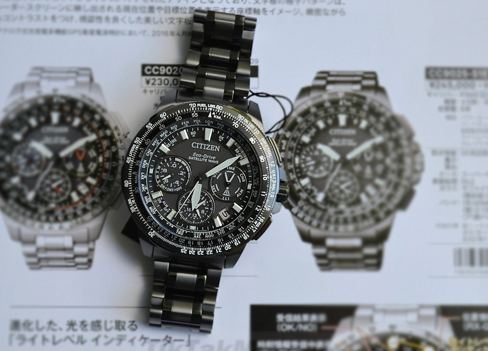 reloj Citizen watch modelo top CC9025-51E con titaniu, zafiro, solar, y gps