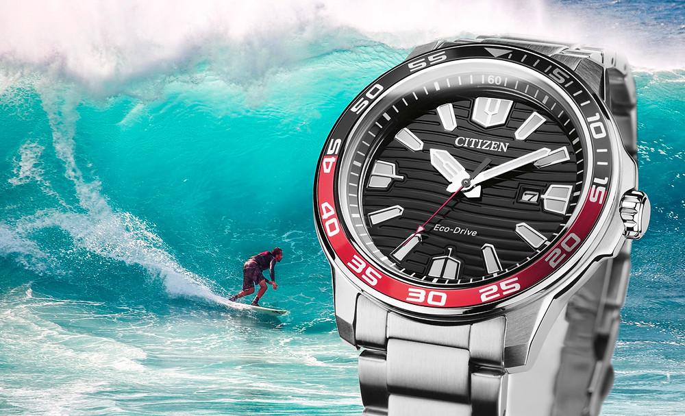 reloj 100 metros sumergible carga solar ecodrive modelo 2021 surfistas aw1527-86e de citizen watch