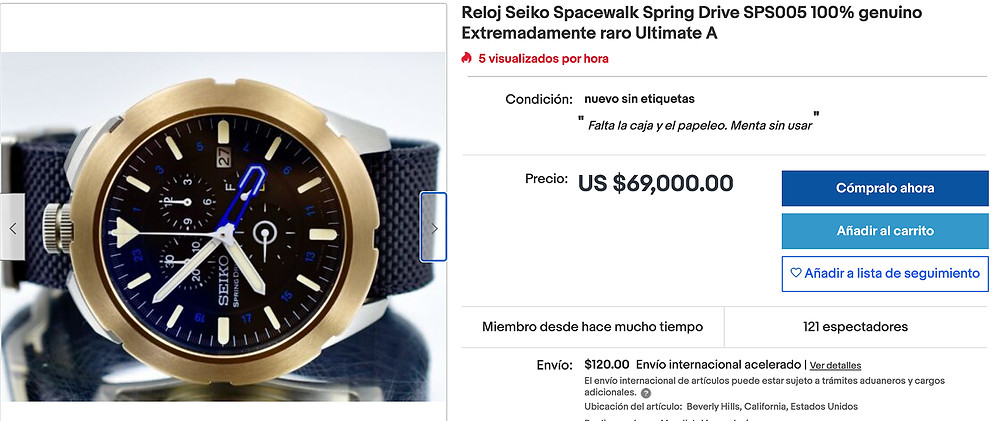 reloj Seiko mision espacial Garriott SPS005 Spacewalk spring drive