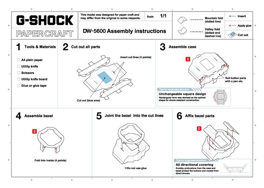 Instrucciones reloj G-Shock DW5600 para construir en papel