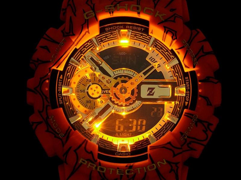 Tapa de fondo con marca Dragon Ball Z modelo reloj GA-110JDB-1A4