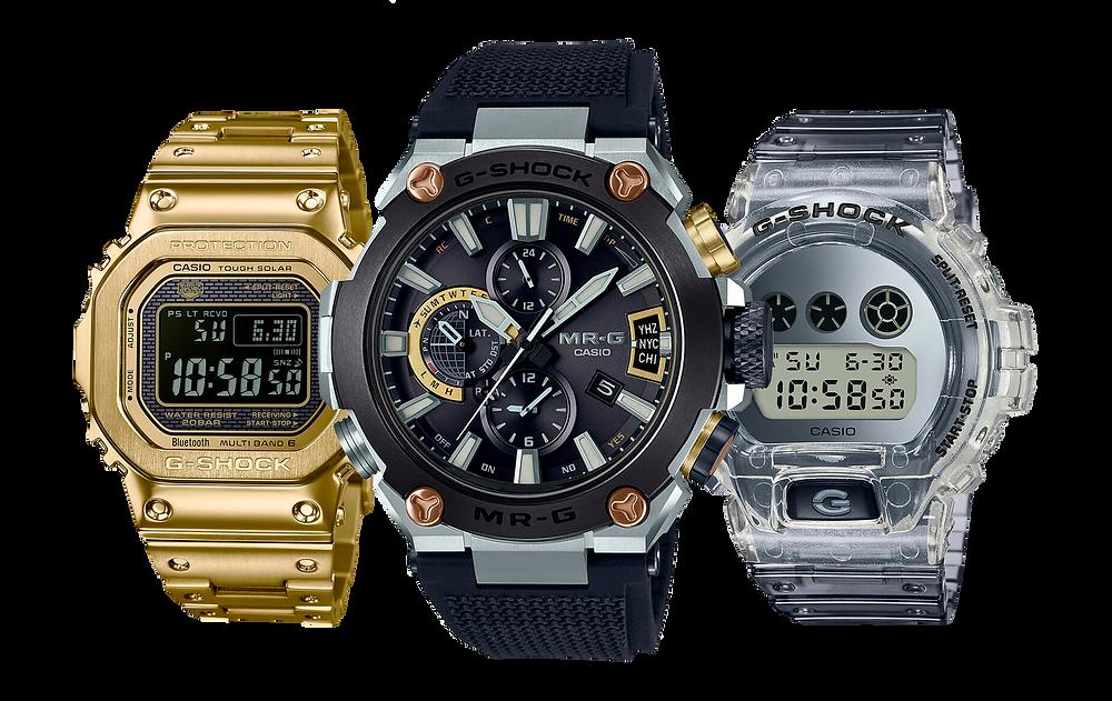 Relojes G-SHOCK y MR-G, imagenes promocionales mostrando hora 10:58