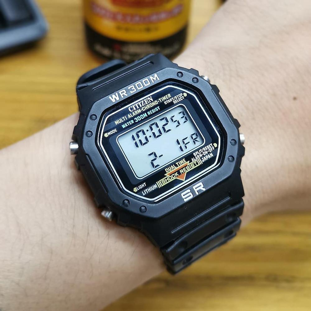 Reloj de 1985 Citizen modelo DQ-7511 imitación DW5600 de Casio