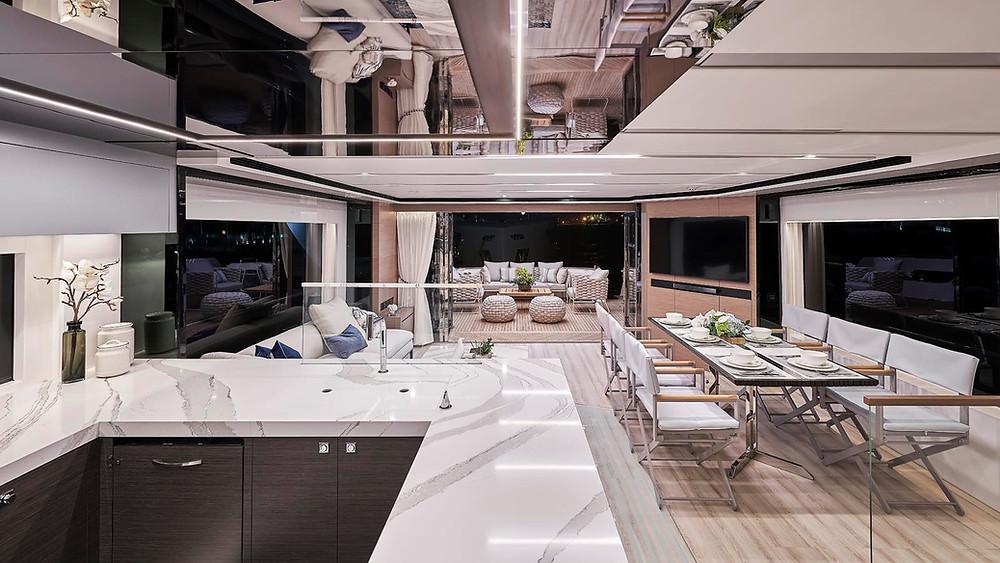 detalle interior salon embarcacion 23m marca horizon fd75 en venta nuevo