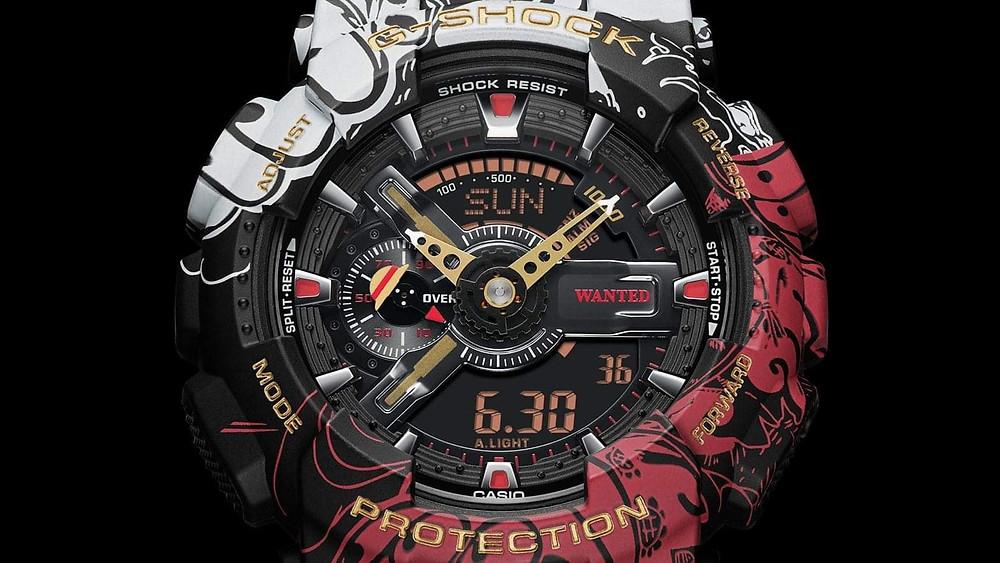 Detalle esfera One Piece reloj modelo GA-110JOP-1A4 edicion limitada