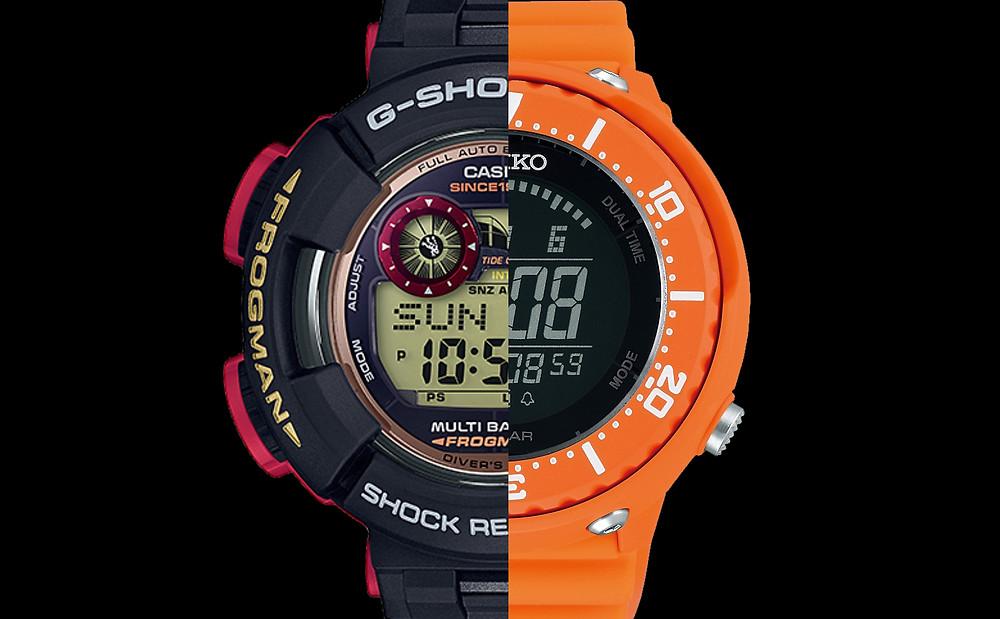 Comparativa relojes japoneses G-Shock Frogman serie GWF1000 contra Seiko Prospex Fieldmaster Lowercase