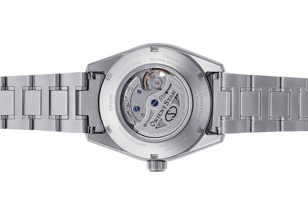 detalle fondo cristal zafiro reloj automatico orient star 147-re-ay0006a00b
