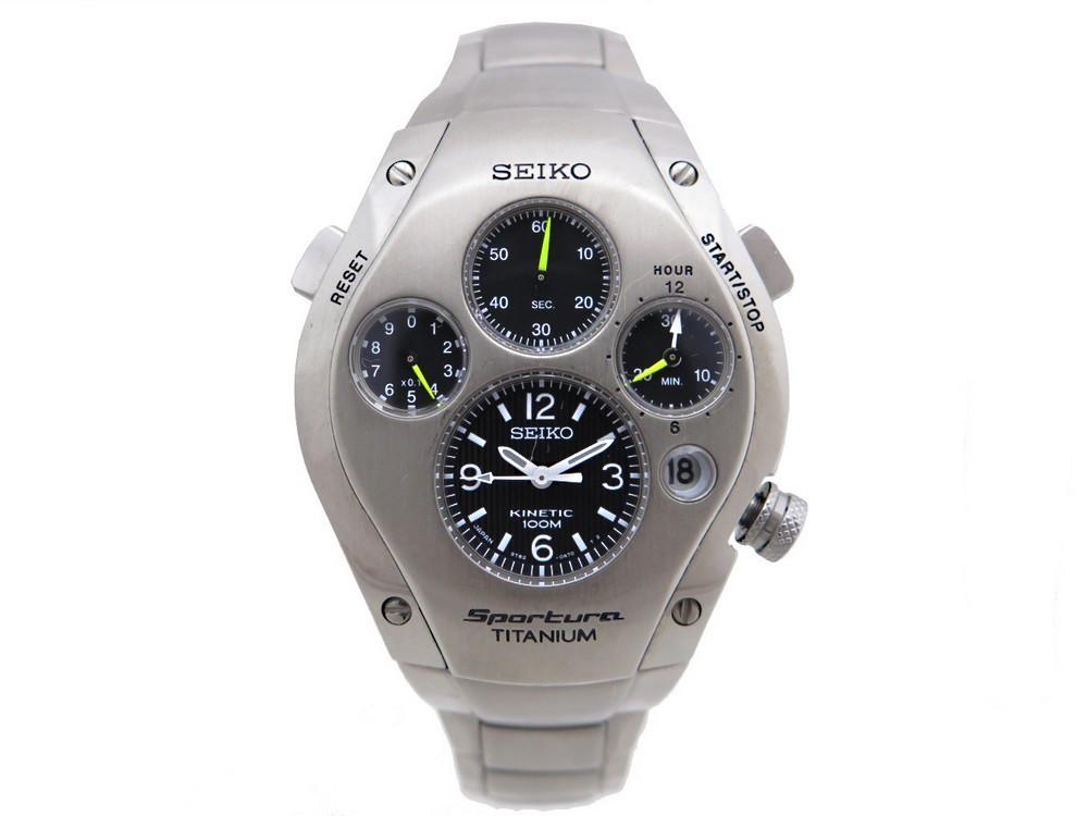 reloj especial seiko sportura titanium slq009 kinetic
