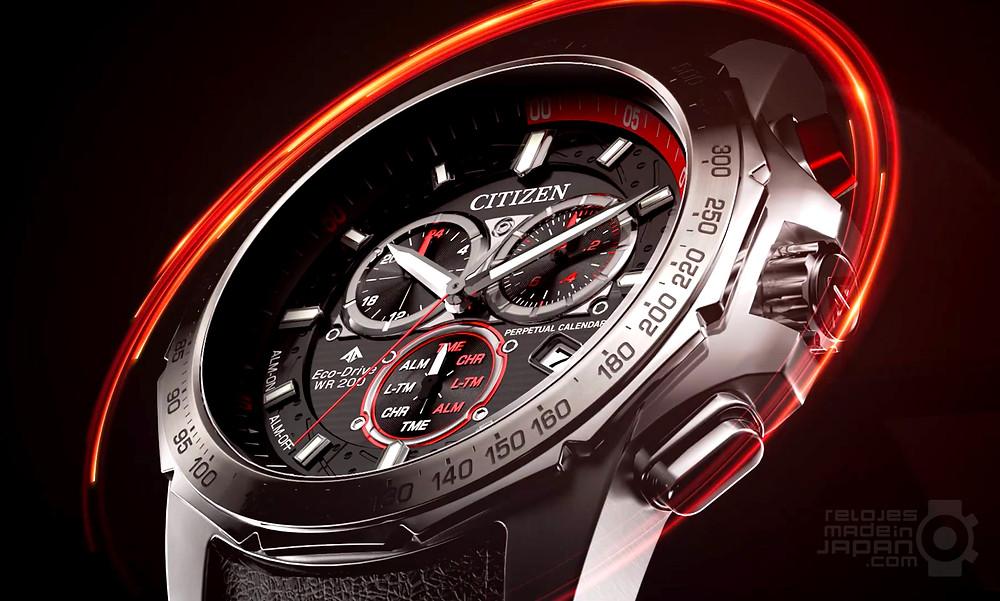 detalle esfera reloj citizen promaster MX moto series BL5570-01E