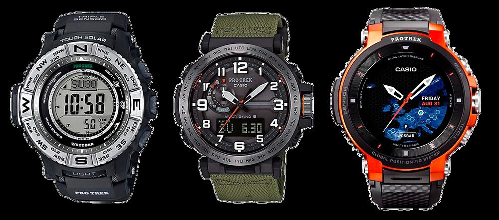 3 tipologias relojes casio pro-trek digital analogico con triple sensor, e inteligente smart