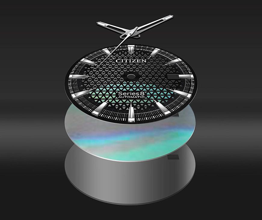 detalle esfera tres niveles reloj citizen modelos NA1010-84X , NA1015-81Z