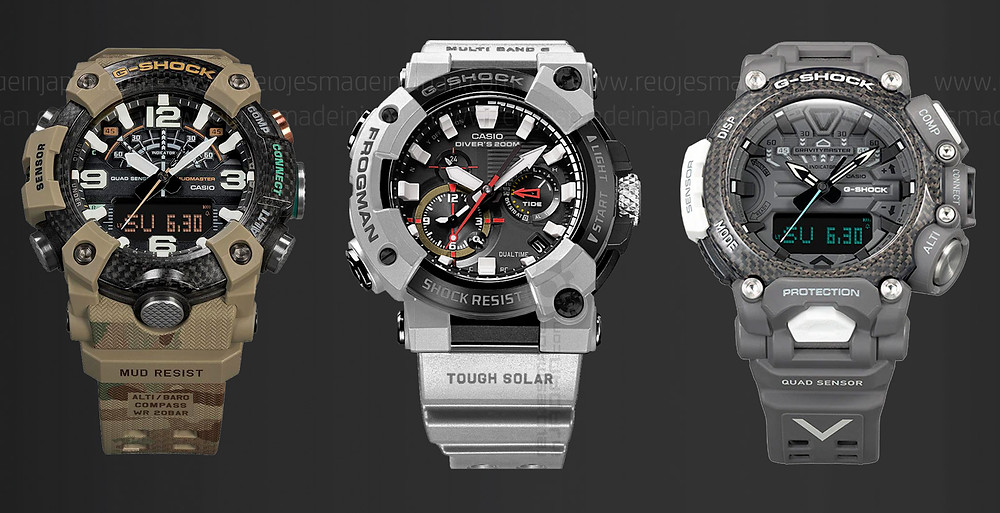 Trilogía relojes G-Shock x British Army al completo. 3 Relojes tierra, mar y aire