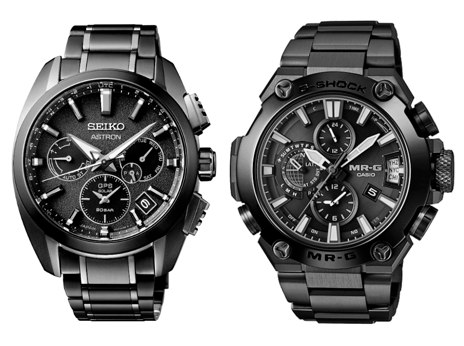 Comparativa Seiko Astron 5x titanio versus G-Shock MRG titanio, ambos GPS
