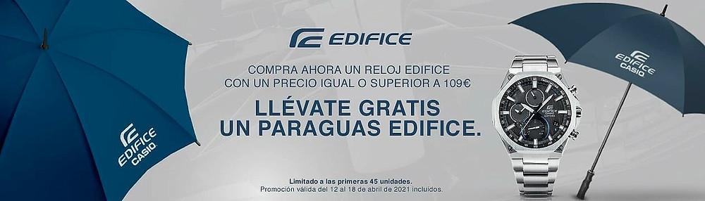 banner promocion regalo paraguas edifice en tienda online casio espana / spain