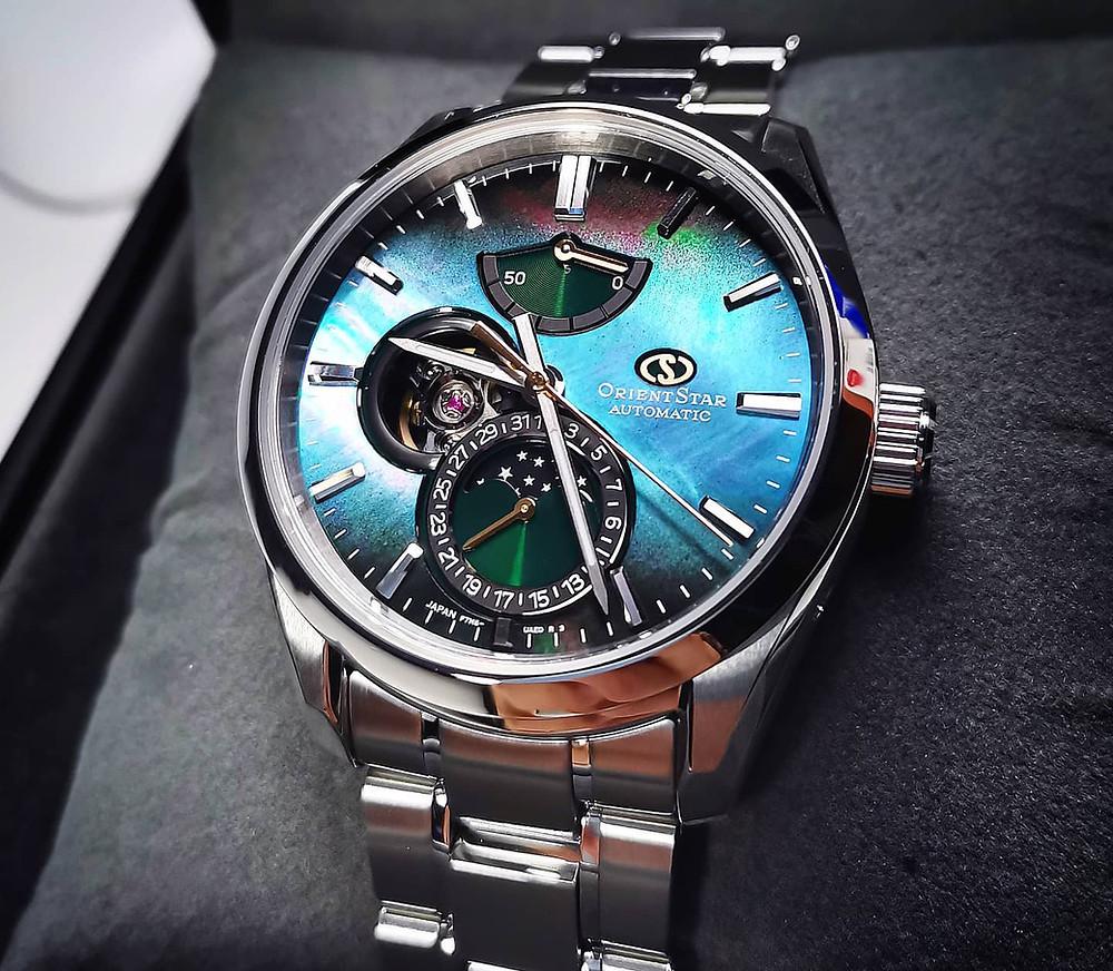 Reloj especial con complicacion fases lunares automático Orient Star 147-re-ay0006a00b
