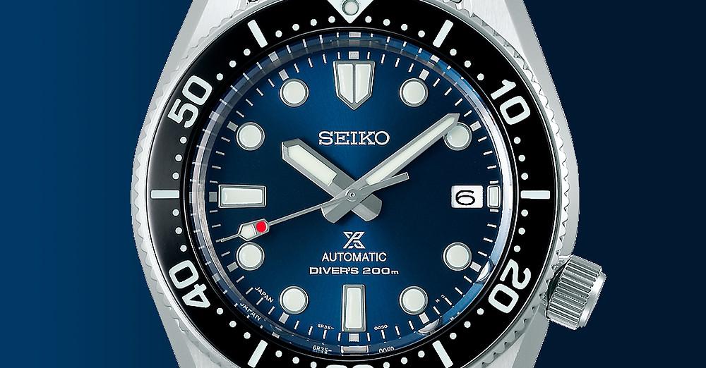 Detalle esfera reloj automatico Seiko Prospex SPB187J1