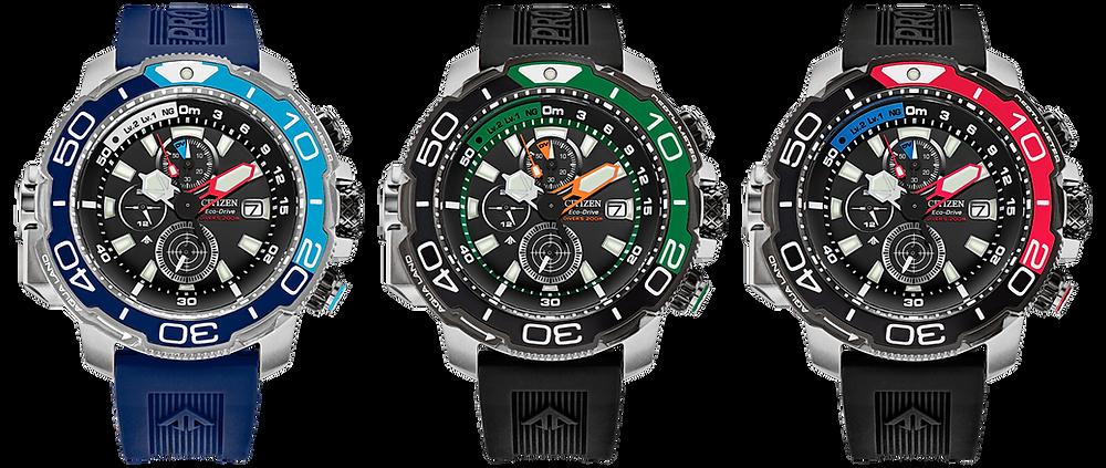 3 colores disponibles del nuevo reloj instrumento Promaster Aqualand serie BJ21