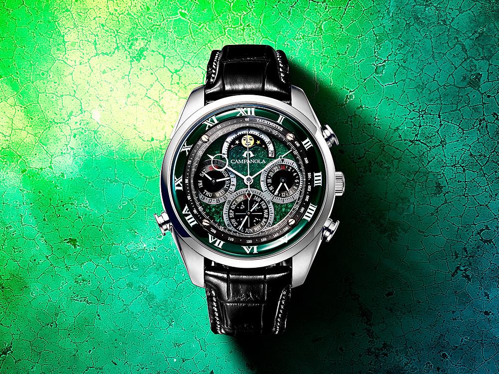 reloj Campanola esfera urushi verde cronografo AH4080-10W calibre cuarzo 6772