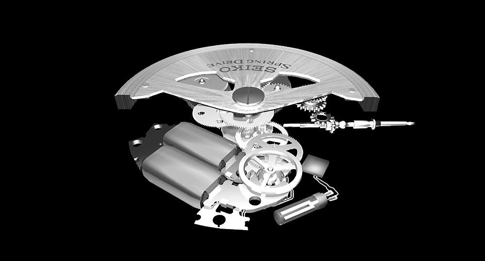 Detalle del sistema automático híbrido Sprin Drive de Seiko