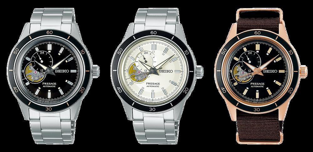 3 nuevos relojes seiko presage 4r39 open heart vintage style60's