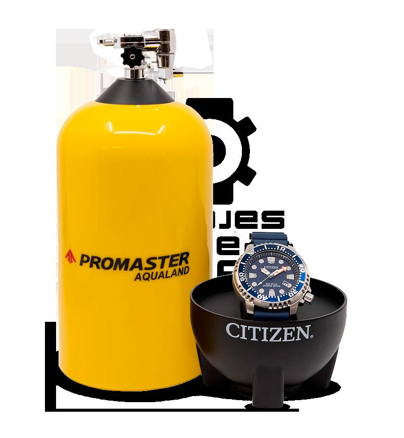 botella caja reloj divers citizen promaster packaging original