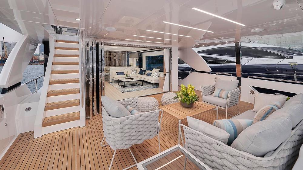 yate lujo horizon yachts serie fd75 detalle popa acomodacion