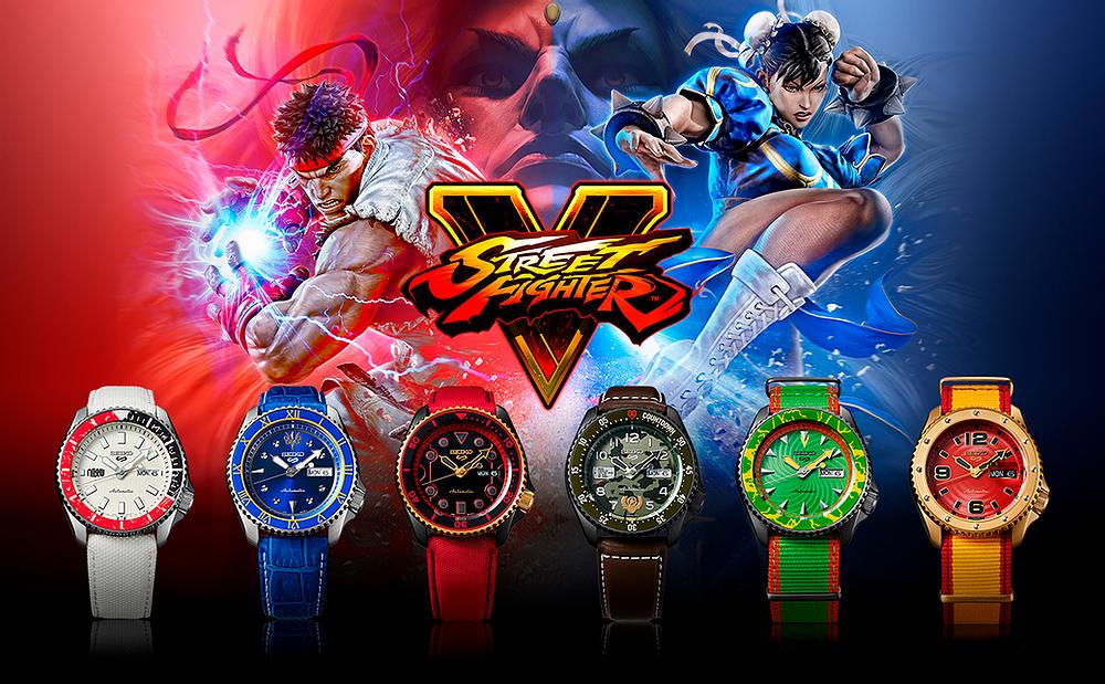 Seiko street fighter V de edicion limitada, relojes automaticos serie 5 sports