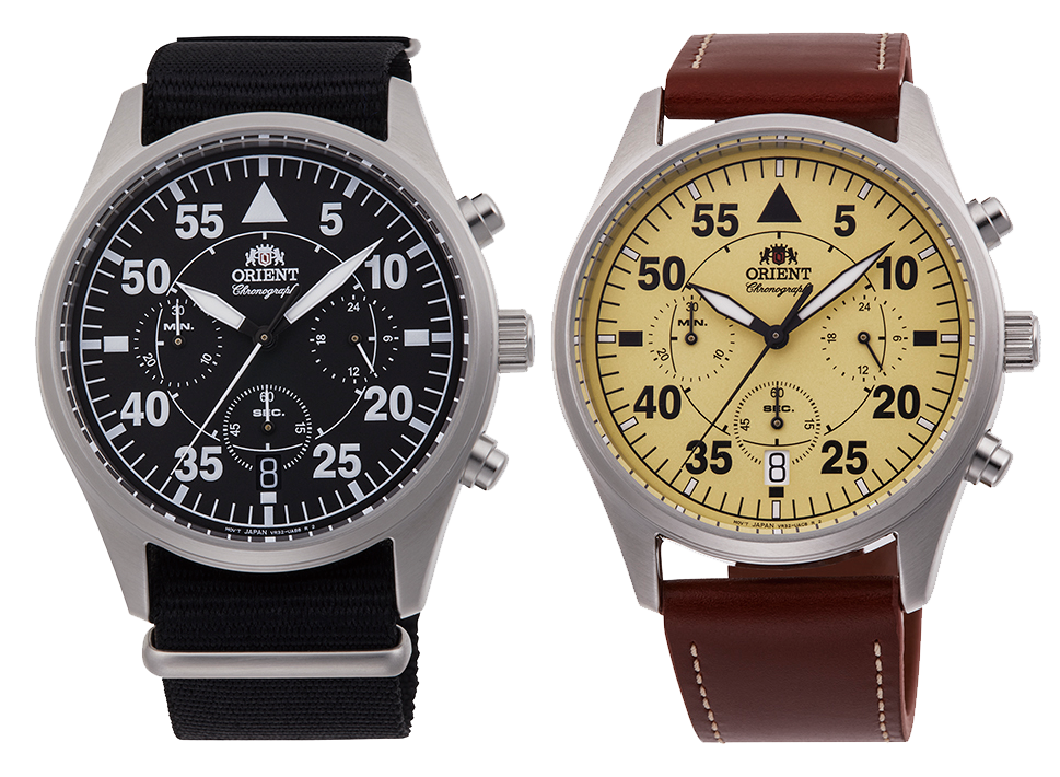 reloj orient cronografo cuarzo marron y beige RA-KV0503Y10B
