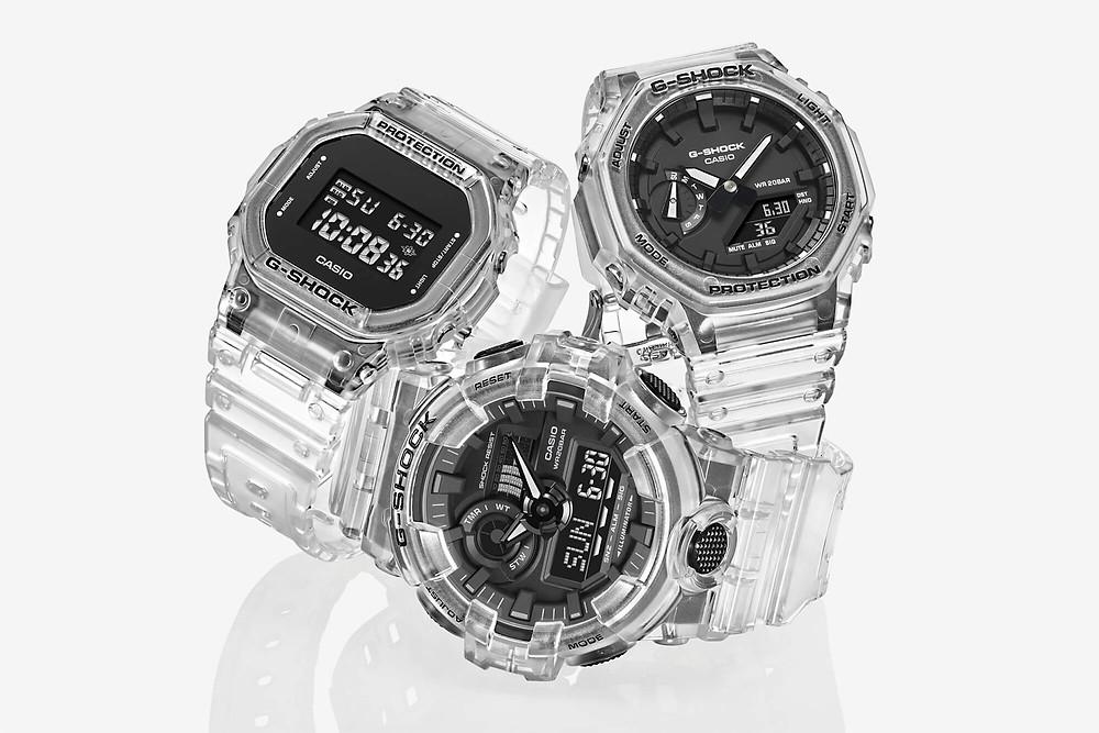 Nuevos relojes 'Skeleton' de Casio G-Shock 2021 transparentes, y Casioak GA-2100SKE-7AER