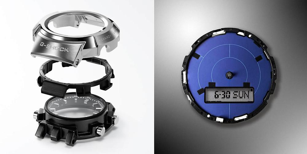 Detalle caja de acero, bisel y módulo solar del reloj AWM-500
